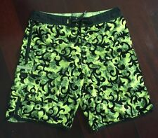 Vintage 90s Green Quiksilver Hawaiian Paisley Surf Board Shorts Swim Trunks 34