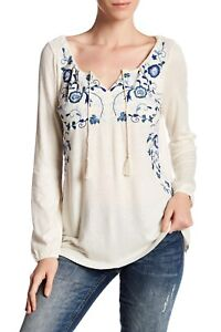 LUCKY BRAND Embroidered Peasant Top, Eggshell, US Size XS, NWOT