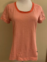 Lands End Womens Scoop Neck T Shirt Red Medium Short Sleeve Striped EXC!
