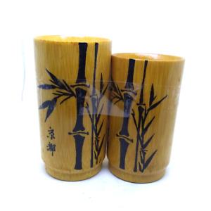 2 Pcs Vintage Japanese bamboo Tumblers Dringing Glasses Classy black painted