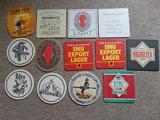 Beer drinks mats drip mats coaster EMU REDBACK CARLTON Australian beers job lot