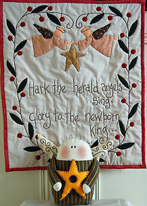 PRIMITIVE FOLK ART CHRISTMAS SEWING PATTERN 'ANGELS GATHER HERE' QUILT & ANGEL