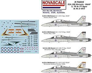 RAAF Decals F/A-18B Hornet 3,75&77Sqn 1/72 Scale N72035