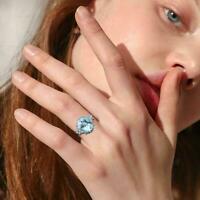 Luxus Sky Blue Alloy Ring Frauen Topaz Schmetterling Valentinstag Ring Schm