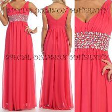 New Long Coral Chiffon Jewels Empire Maternity Dress Gown Wedding Formal MEDIUM
