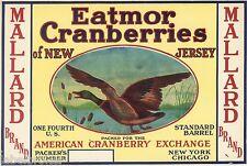 CRATE LABEL VINTAGE CRANBERRY NEW YORK 1930S NEW JERSEY MALLARD DUCK GENUINE