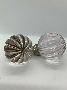 Pottery Barn Kids Ornament Finial Clear Set of 2 Lot Glass Crystal New