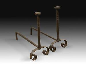 Pair of andirons. Wrought iron. 18th century.