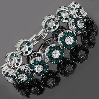 Rhinestone Round Cut Flower Green Emerald Tennis Statement Fashion Bracelet