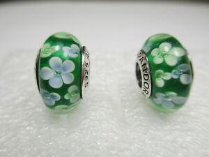 2 Authentic Pandora Murano Bead Charm St Patrick's Green Field of Flowers Daisy