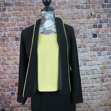 R & K Women Skirt Jacket Suit Set Size 4 Petite Black With Yellow Pin Strip