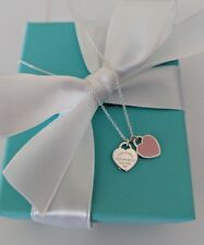 "TIFFANY & CO RETURN TO TIFFANY MINI HEART NECKLACE 16"" TIFFANY PINK STERLING NEW"