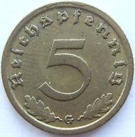 Top! 5 Reich Pfennig 1937 G En Extremely fine