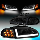 For 1992-1995 Honda Civic Pair Led Drlturn Signal Headlight Corner Lamps Smoked