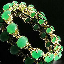 Emerald Green Jade Crystal Yellow Gold Plated Link Clasp Bangle Bracelet