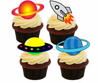 Outer Space Edible Cup Cake Toppers, Standup Fairy Bun Decorations, Boy Rockets