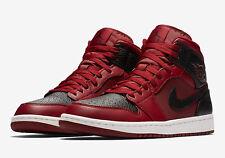 Nike Air Jordan 1 Mid équipe Rouge/Noir Baskets Taille 9.5 ** NEUF en Boîte **