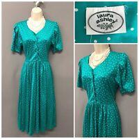 Laura Ashley Green Spotted Polka Retro Dress UK 6 EUR 35 US 2