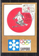 carte  1er jour  jeux olympiques  Sapporo    Paris   1972