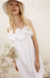 H&M NEW Flounce Trimmed Adjustable Spaghetti Strap Dress White Size Medium