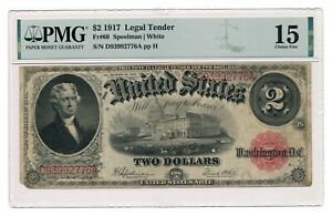 UNITED STATES banknote $2 1917 PMG F 15 Choice Fine
