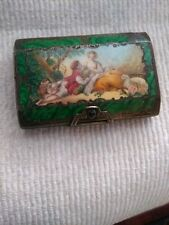 19th Century Enamel and 800  SILVER & GOLD Snuff Box  Very Finely Painted