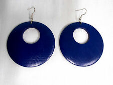 "XL NAVY BLUE COLOR HAND PAINTED REAL WOOD DANGLING ROUND FLAT 3"" HOOP EARRINGS"