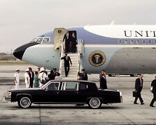 President Ronald Reagan exits Air Force One in California 1988 - New 8x10 Photo