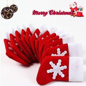 Christmas Santa Socks Tableware Cutlery Holder Silverware Bags Xmas Table Decor