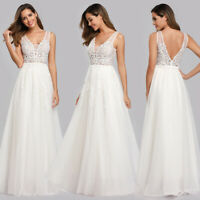 Ever-Pretty US White Wedding Dresses Long Applique Lace Evening Prom Gowns 07544