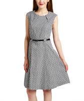Belted Sleeveless Dress Size UK 12 Ladies Black & White Woven Print BNWT #490