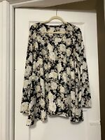 For Love And Lemons Black Floral Bell Sleeve Tunic Size S