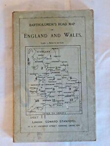 Vintage Bartholemew's  Road Map England & Wales Sheet 11