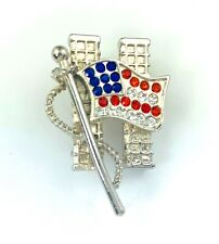 Style 13 Bling Rhinestone Usa American Flag Pin Brooch