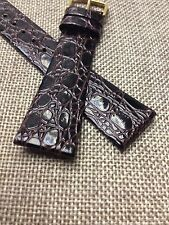 20mm DARK BROWN STRAP  GENUINE HIRSCH CROCOGRAIN LEATHER WATCH BAND  GOLD BUCKLE