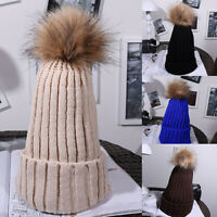 Fashion Women Winter Warm Knitted Crochet Beanie Hat Fur Pom Ball Ski Cap Well