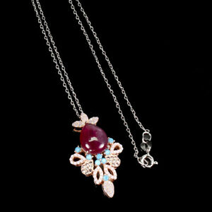 Pear Red Ruby 12x10mm Cz Nano Rose Gold Plate 925 Sterling Silver Necklace 18in