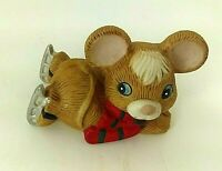 Vintage Homco Christmas Mouse w/ Skates and Scarf Figurine