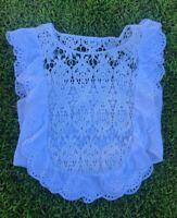 Gap Women's Size Large Blouse Top scoop Neck Ruffle Crochet White Sleeveless