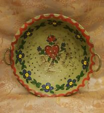 Antique Hand painted Toleware Hart and Flower Strainer w/ handles