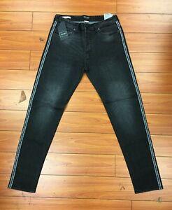 Men's Jeans Tapered Leg by Jack & Jones FRED' Side Panels DISTRESSED Black 31/34
