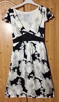 OASIS 100% SILK Black & Ivory tea dress Size 10 Empire Line Art Deco WEDDING