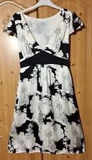 OASIS 100% SILK Black & Ivory tea dress Size 10 Empire Line Art Deco WEDDING