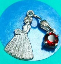 I56 Bridesmaid And Red Stone Sterling Silver Vintage Bracelet Charm
