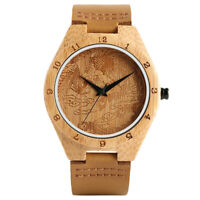 Cool Phoenix Nature Wood Genuine Leather Strap Women Men Sport Wrist Watch Gift