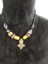 Vintage Glass Wood Bead Necklace Brass Pendant Orange Black Blue