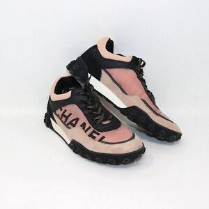 Chanel Pink & Black Nylon & Calfskin Suede Sport Luxe Sneaker Trainer