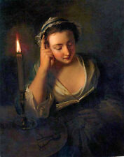 Oil paintig Philip Mercier - A young girl reading by candlelight Hand painted