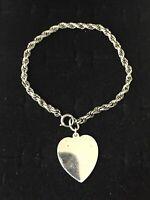 Vintage Sterling Silver Bracelet Twisted Rope Band Large Heart Pendant Charm 7.5
