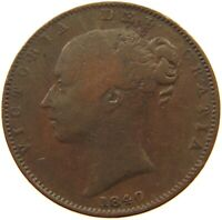 GREAT BRITAIN FARTHING 1840 VICTORIA #s50 639